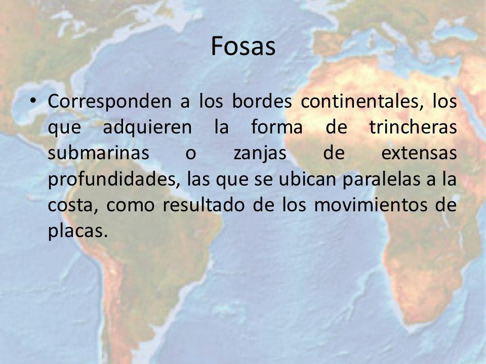 Fosas Corresponden a los bordes continentales, los que adquieren la forma de trincheras submarinas o zanjas de extensas profundidades, las que se ubic
