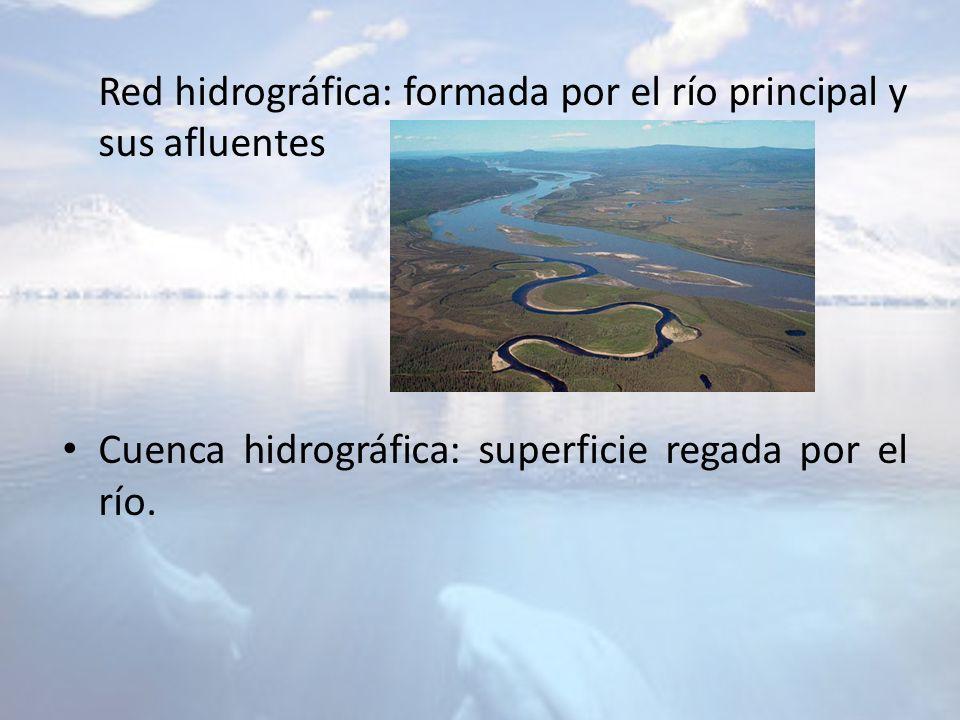 Red hidrográfica: formada por el río principal y sus afluentes Cuenca hidrográfica: superficie regada por el río.