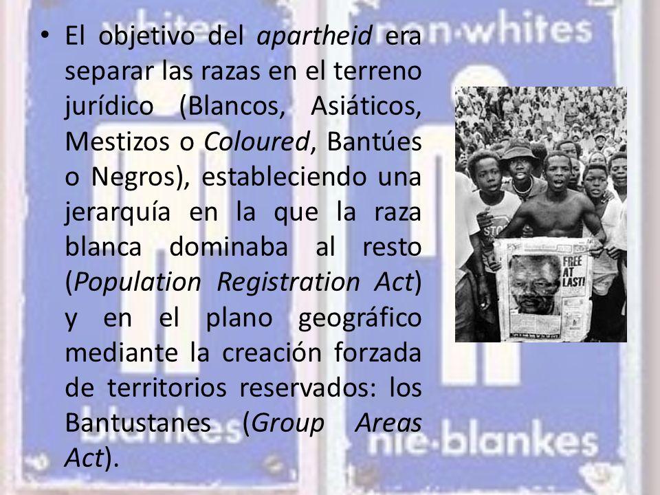 El objetivo del apartheid era separar las razas en el terreno jurídico (Blancos, Asiáticos, Mestizos o Coloured, Bantúes o Negros), estableciendo una