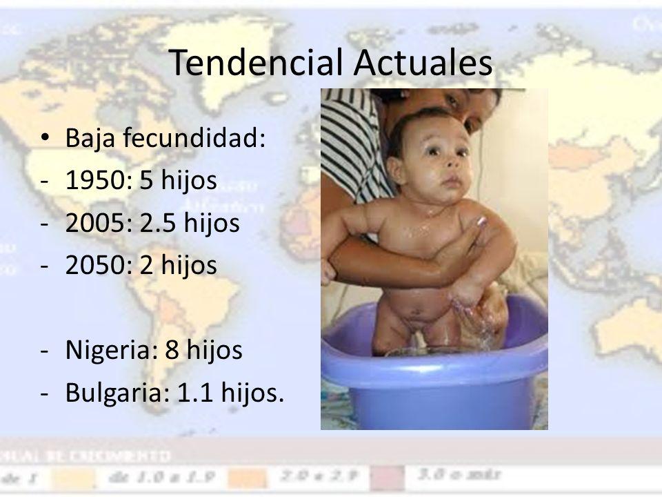 Tendencial Actuales Baja fecundidad: -1950: 5 hijos -2005: 2.5 hijos -2050: 2 hijos -Nigeria: 8 hijos -Bulgaria: 1.1 hijos.