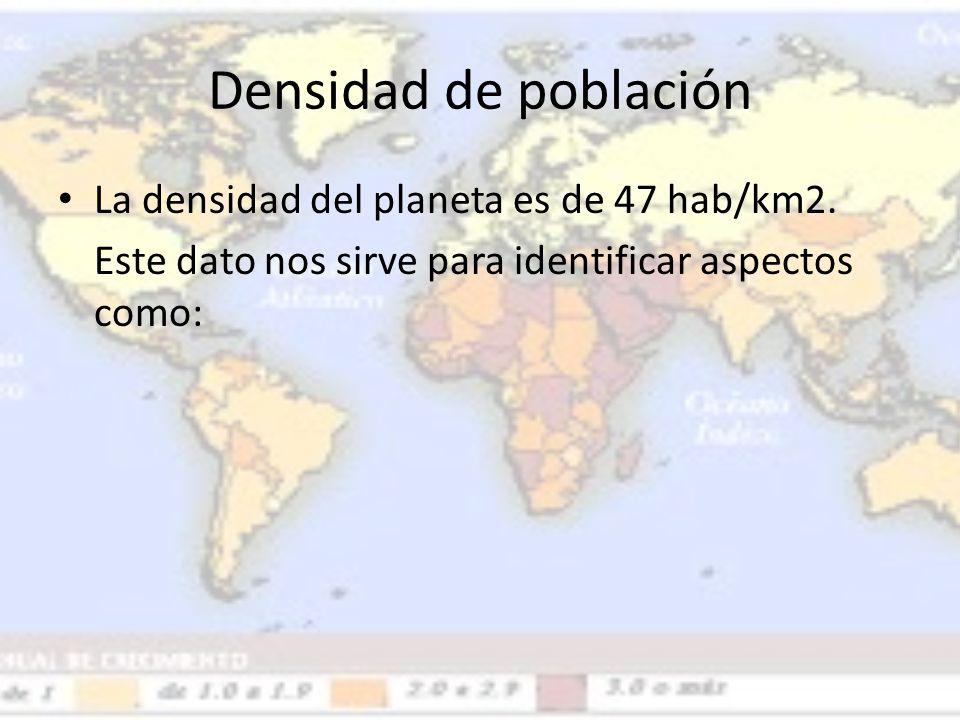 Densidad de población La densidad del planeta es de 47 hab/km2. Este dato nos sirve para identificar aspectos como: