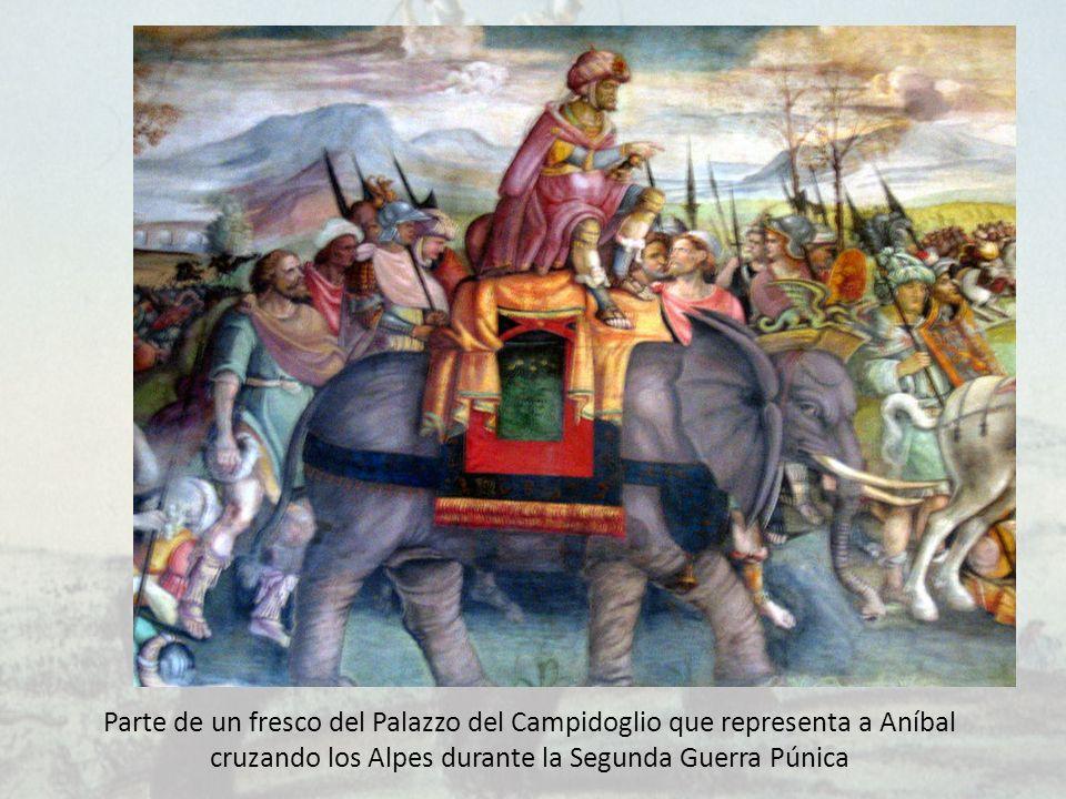 Parte de un fresco del Palazzo del Campidoglio que representa a Aníbal cruzando los Alpes durante la Segunda Guerra Púnica