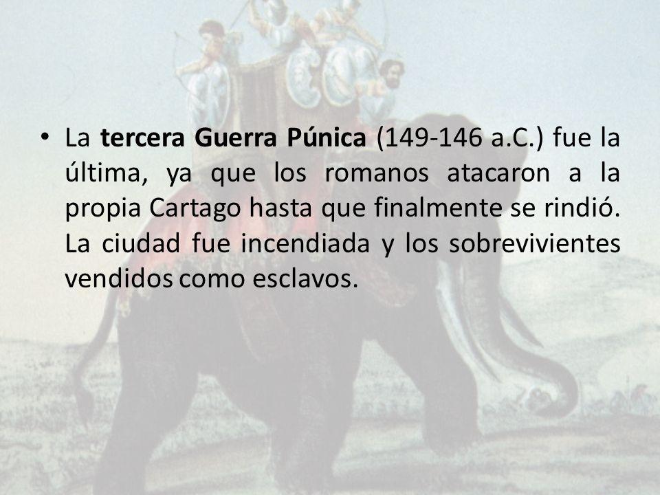 La tercera Guerra Púnica (149-146 a.C.) fue la última, ya que los romanos atacaron a la propia Cartago hasta que finalmente se rindió. La ciudad fue i
