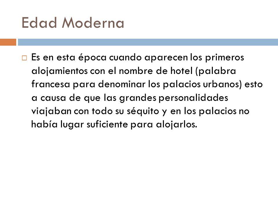 Edad Moderna Es en esta época cuando aparecen los primeros alojamientos con el nombre de hotel (palabra francesa para denominar los palacios urbanos)