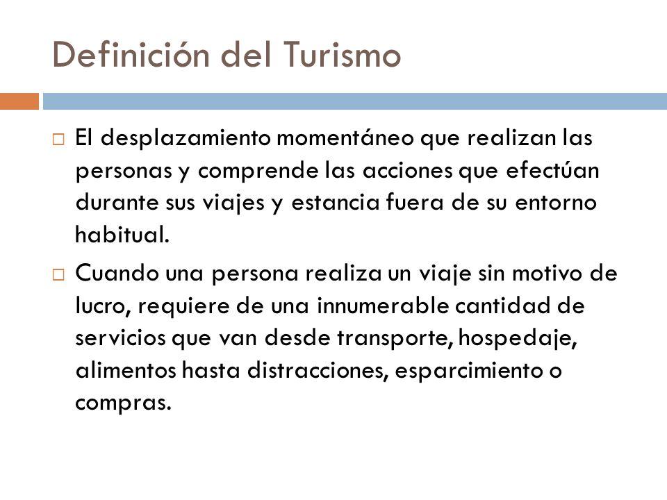Definición del Turismo El desplazamiento momentáneo que realizan las personas y comprende las acciones que efectúan durante sus viajes y estancia fuer