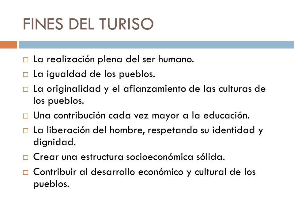 FINES DEL TURISO La realización plena del ser humano. La igualdad de los pueblos. La originalidad y el afianzamiento de las culturas de los pueblos. U