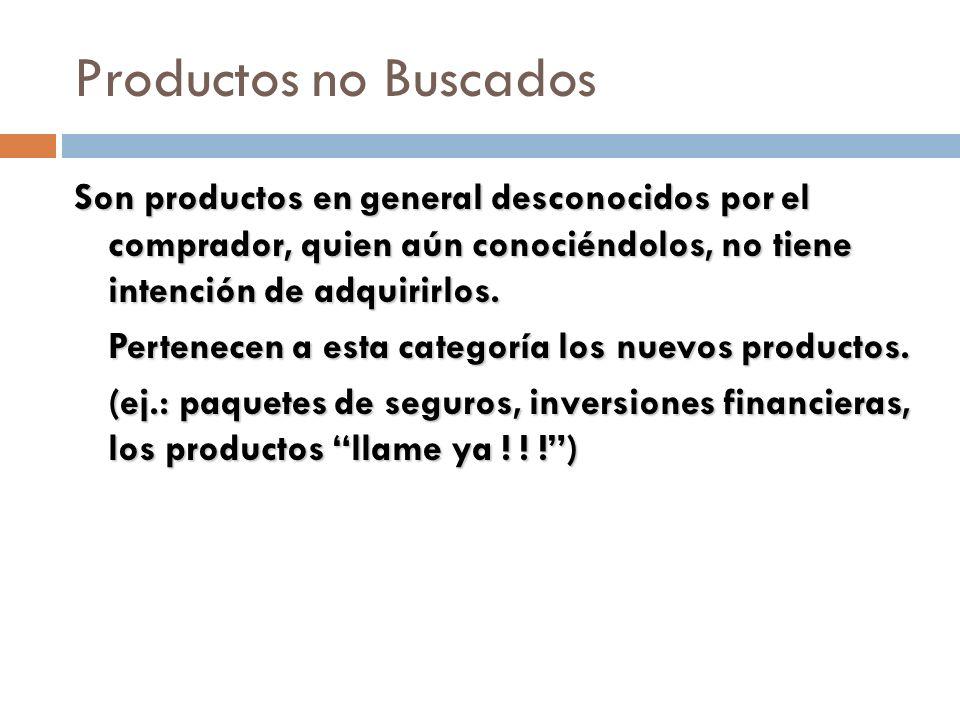 Productos no Buscados Son productos en general desconocidos por el comprador, quien aún conociéndolos, no tiene intención de adquirirlos. Pertenecen a