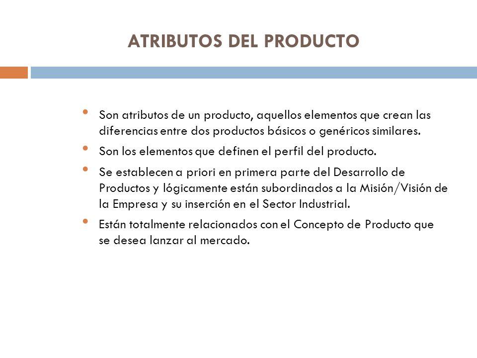 ATRIBUTOS DEL PRODUCTO Son atributos de un producto, aquellos elementos que crean las diferencias entre dos productos básicos o genéricos similares. S