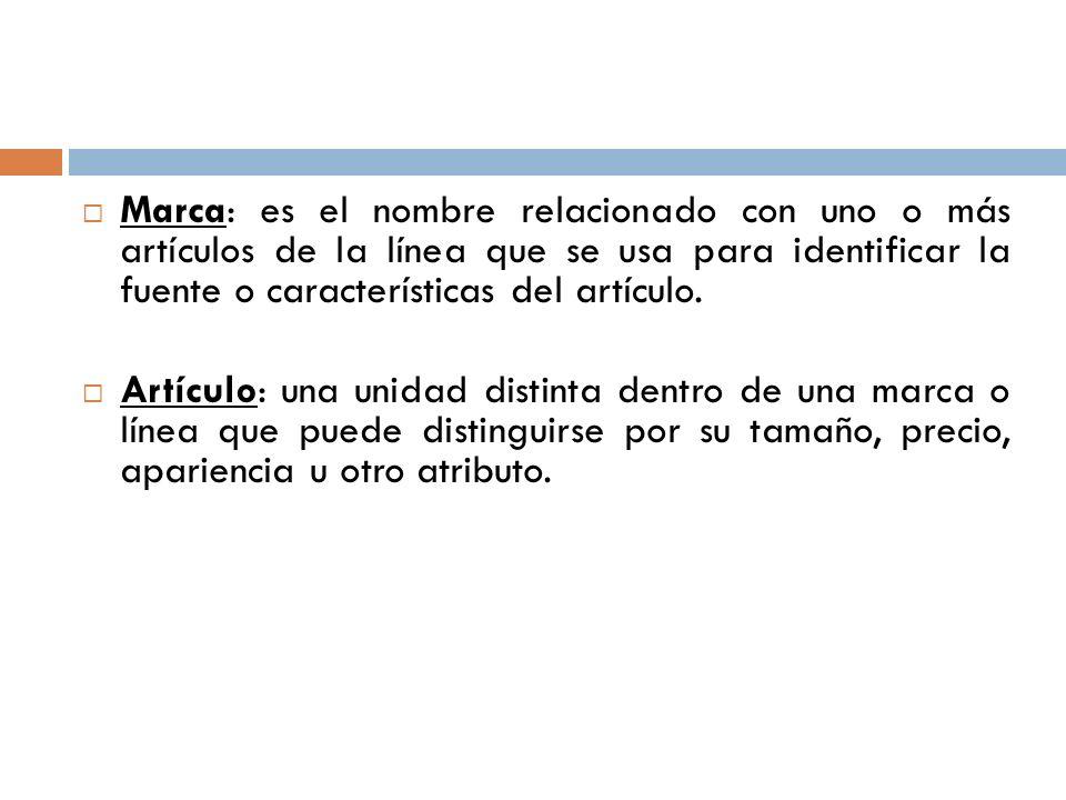 Marca: es el nombre relacionado con uno o más artículos de la línea que se usa para identificar la fuente o características del artículo. Artículo: un