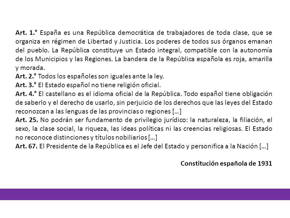 Art. 1.° España es una República democrática de trabajadores de toda clase, que se organiza en régimen de Libertad y Justicia. Los poderes de todos su