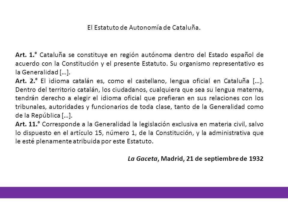 Art. 1.° Cataluña se constituye en región autónoma dentro del Estado español de acuerdo con la Constitución y el presente Estatuto. Su organismo repre