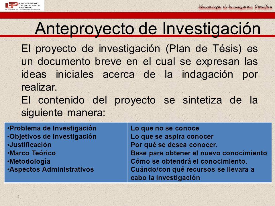 Metodología de Investigación Científica 3 Anteproyecto de Investigación El proyecto de investigación (Plan de Tésis) es un documento breve en el cual
