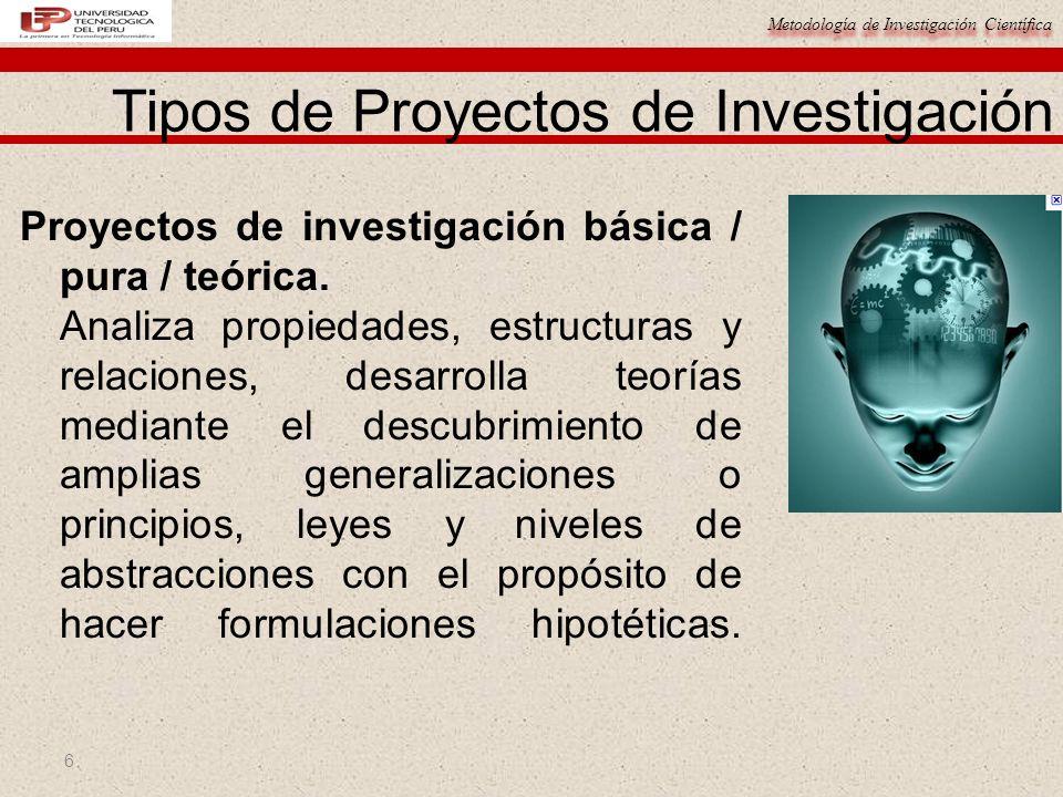 Metodología de Investigación Científica 6 Proyectos de investigación básica / pura / teórica. Analiza propiedades, estructuras y relaciones, desarroll