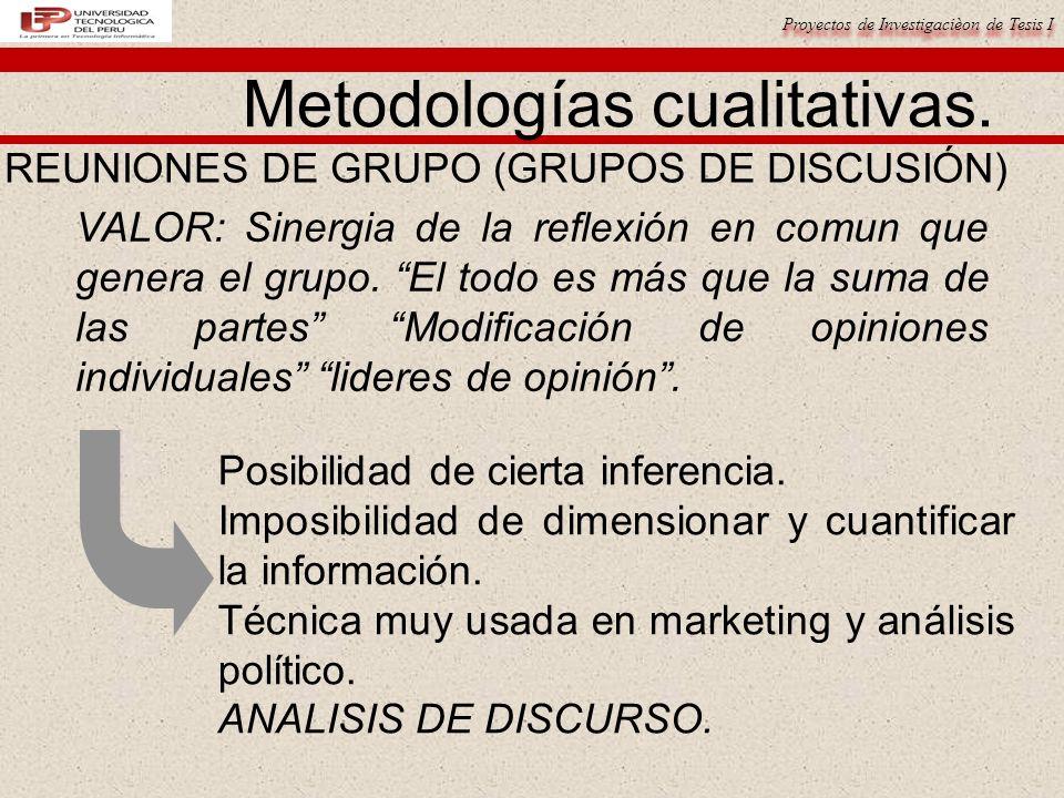 Proyectos de Investigacièon de Tesis I Metodologías cualitativas. REUNIONES DE GRUPO (GRUPOS DE DISCUSIÓN) VALOR: Sinergia de la reflexión en comun qu