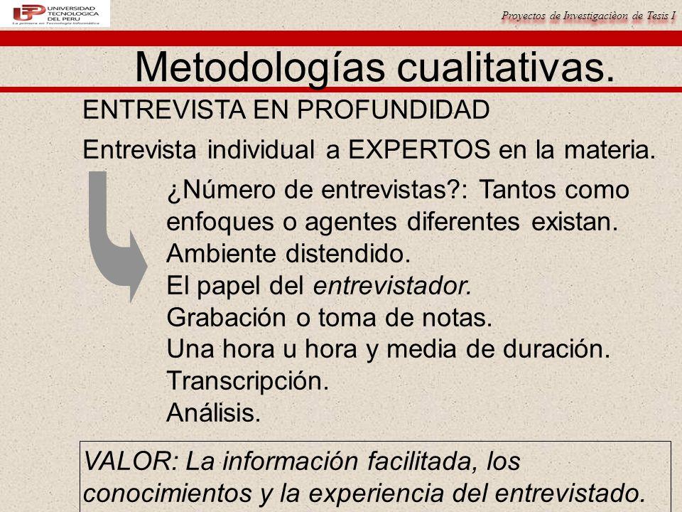 Proyectos de Investigacièon de Tesis I Metodologías cualitativas. ENTREVISTA EN PROFUNDIDAD Entrevista individual a EXPERTOS en la materia. ¿Número de