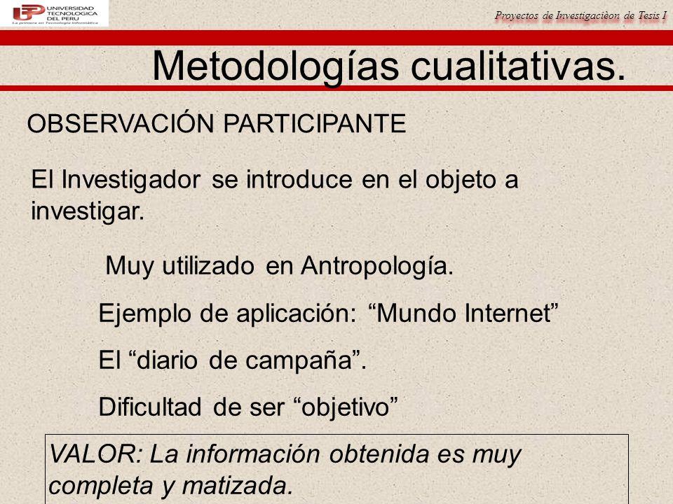Proyectos de Investigacièon de Tesis I Metodologías cualitativas. OBSERVACIÓN PARTICIPANTE El Investigador se introduce en el objeto a investigar. Muy