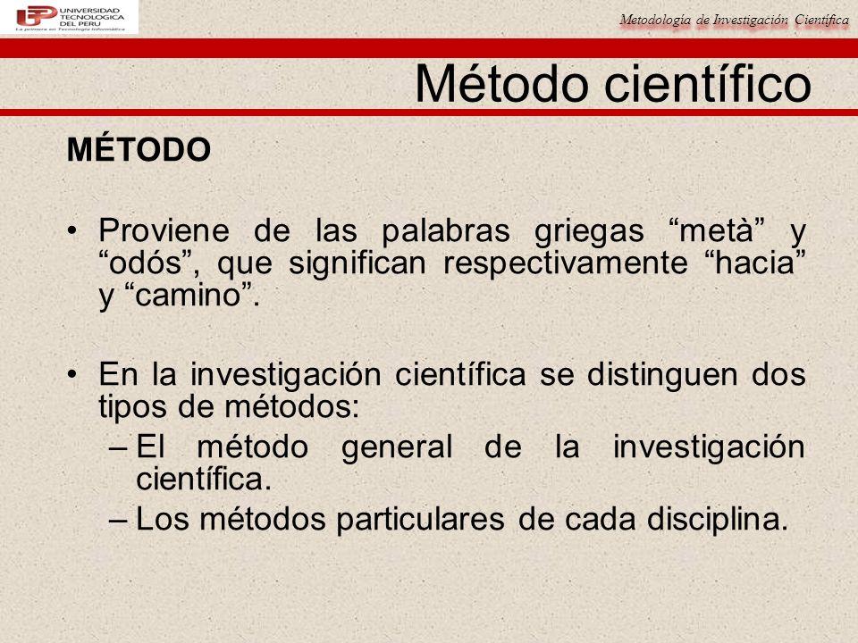 Metodología de Investigación Científica Método científico MÉTODO Proviene de las palabras griegas metà y odós, que significan respectivamente hacia y