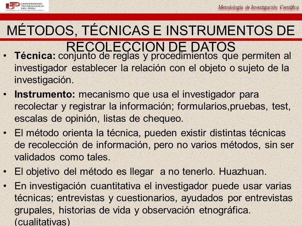 Metodología de Investigación Científica Técnica: conjunto de reglas y procedimientos que permiten al investigador establecer la relación con el objeto o sujeto de la investigación.