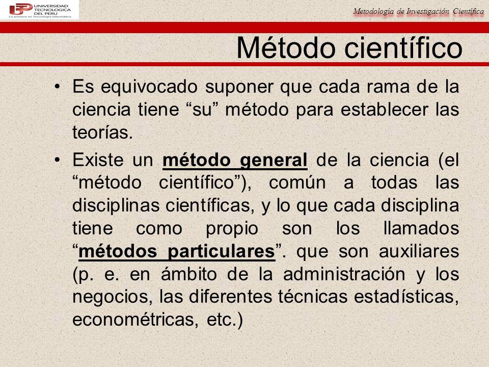 Metodología de Investigación Científica Es equivocado suponer que cada rama de la ciencia tiene su método para establecer las teorías. Existe un métod