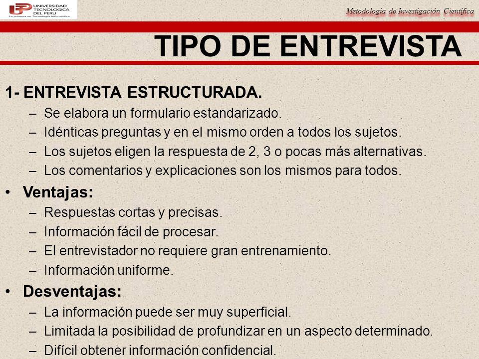 Metodología de Investigación Científica TIPO DE ENTREVISTA 1- ENTREVISTA ESTRUCTURADA.