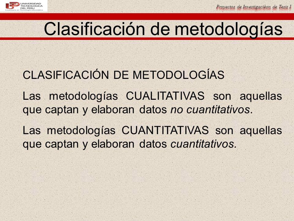 Proyectos de Investigacièon de Tesis I Clasificación de metodologías CLASIFICACIÓN DE METODOLOGÍAS Las metodologías CUALITATIVAS son aquellas que capt