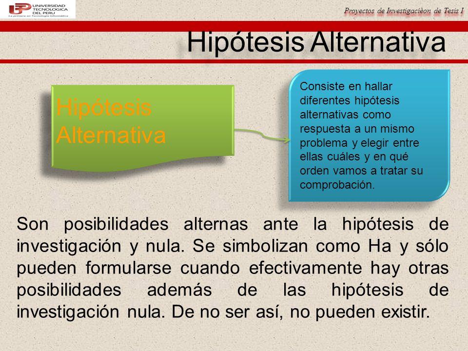 Proyectos de Investigacièon de Tesis I Hipótesis Alternativa Consiste en hallar diferentes hipótesis alternativas como respuesta a un mismo problema y