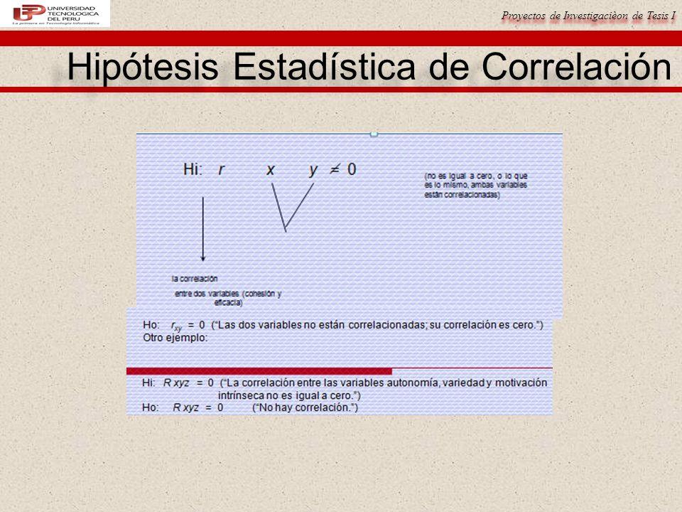Proyectos de Investigacièon de Tesis I Hipótesis Estadística de Correlación