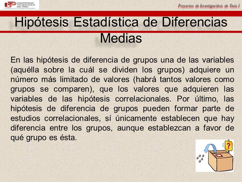 Proyectos de Investigacièon de Tesis I En las hipótesis de diferencia de grupos una de las variables (aquélla sobre la cuál se dividen los grupos) adq