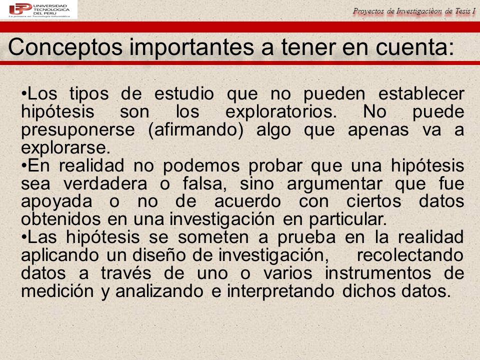 Proyectos de Investigacièon de Tesis I Conceptos importantes a tener en cuenta: Los tipos de estudio que no pueden establecer hipótesis son los explor