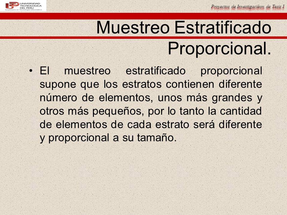 Proyectos de Investigacièon de Tesis I Muestreo Estratificado Proporcional.