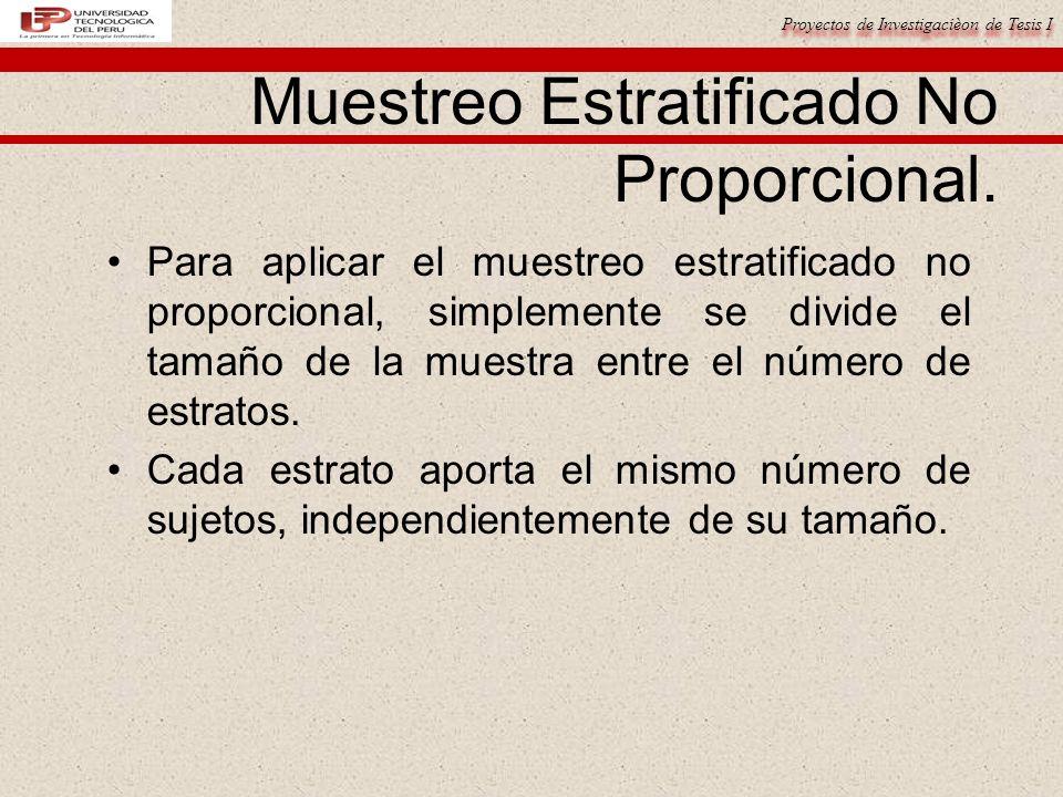 Proyectos de Investigacièon de Tesis I Muestreo Estratificado No Proporcional.