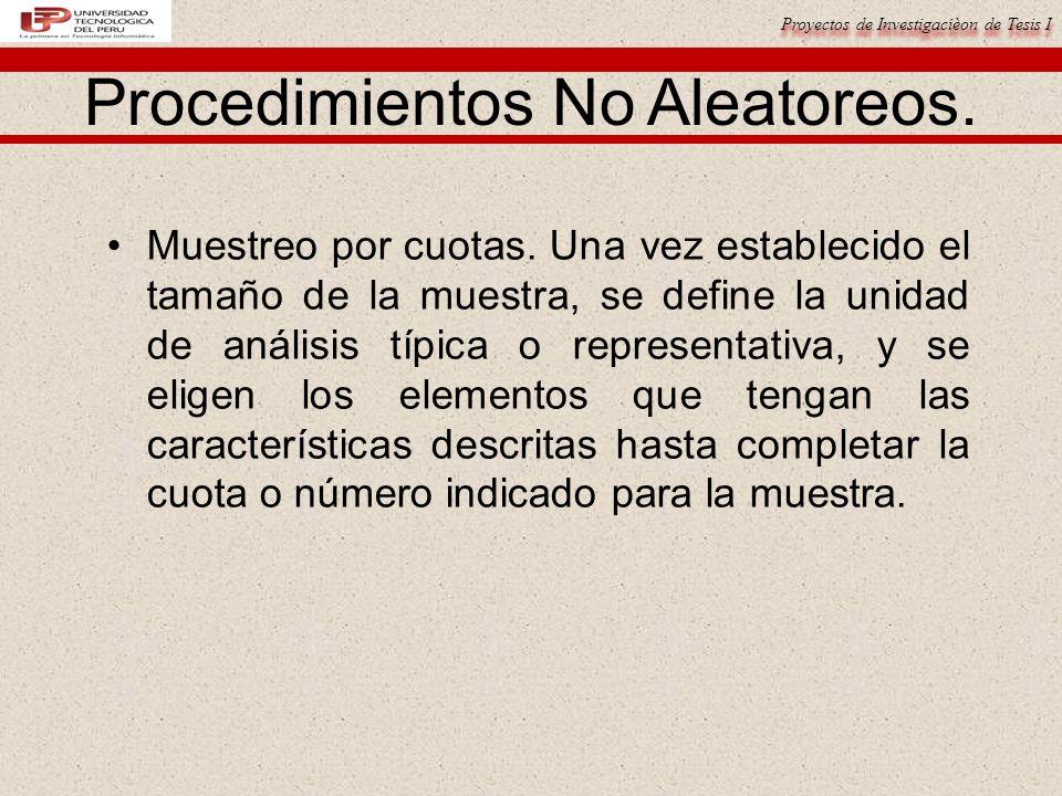 Proyectos de Investigacièon de Tesis I Procedimientos No Aleatoreos.