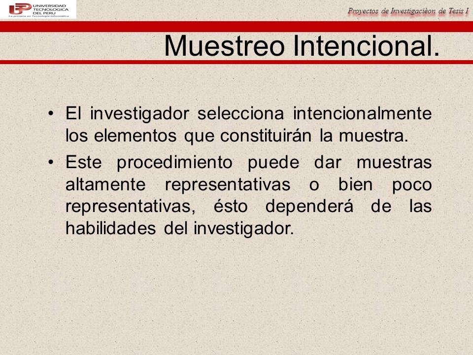 Proyectos de Investigacièon de Tesis I Muestreo Intencional.