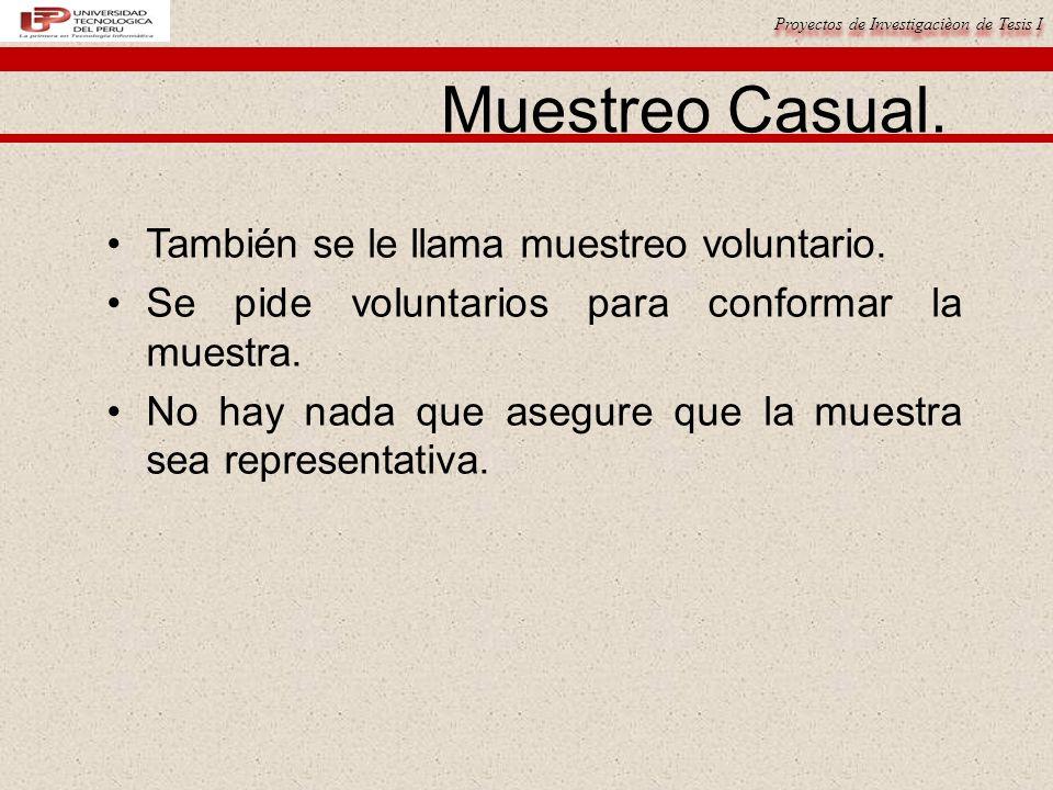 Proyectos de Investigacièon de Tesis I Muestreo Casual.