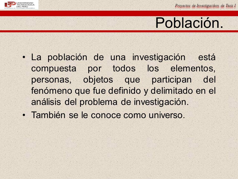 Proyectos de Investigacièon de Tesis I Población.