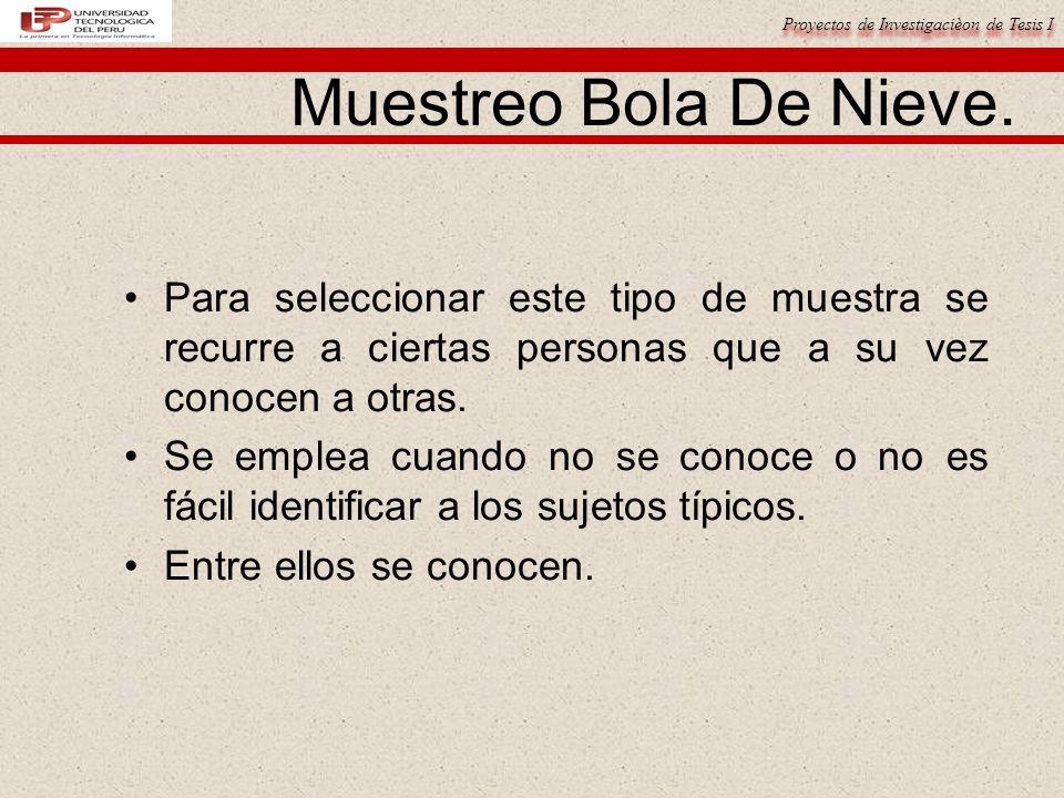 Proyectos de Investigacièon de Tesis I Muestreo Bola De Nieve.