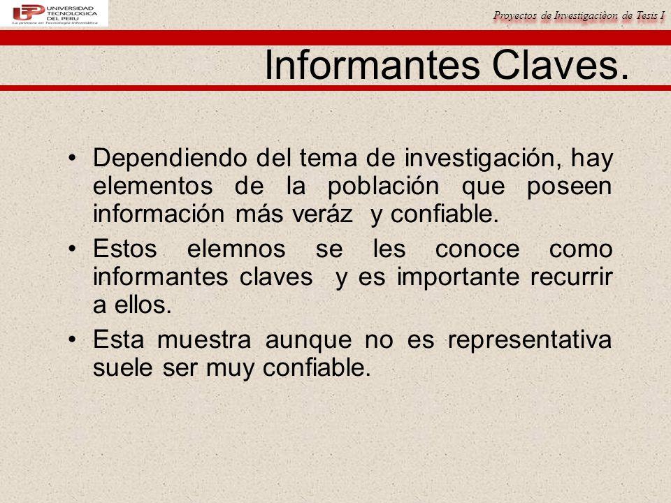 Proyectos de Investigacièon de Tesis I Informantes Claves. Dependiendo del tema de investigación, hay elementos de la población que poseen información