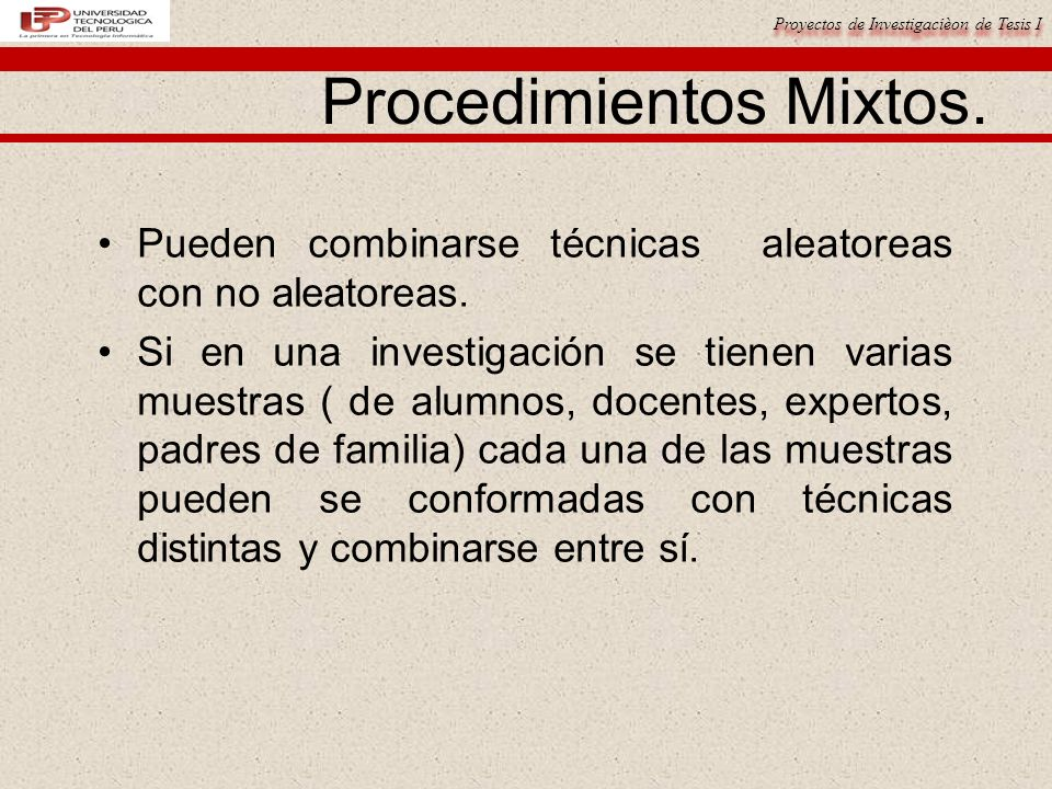 Proyectos de Investigacièon de Tesis I Procedimientos Mixtos.