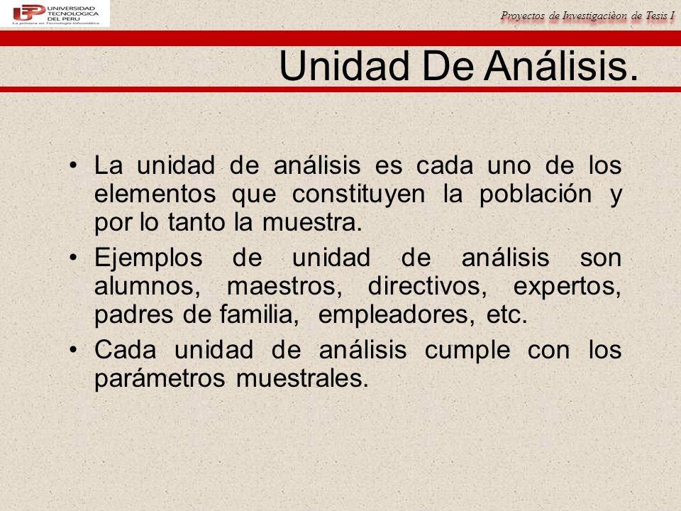 Proyectos de Investigacièon de Tesis I Unidad De Análisis.