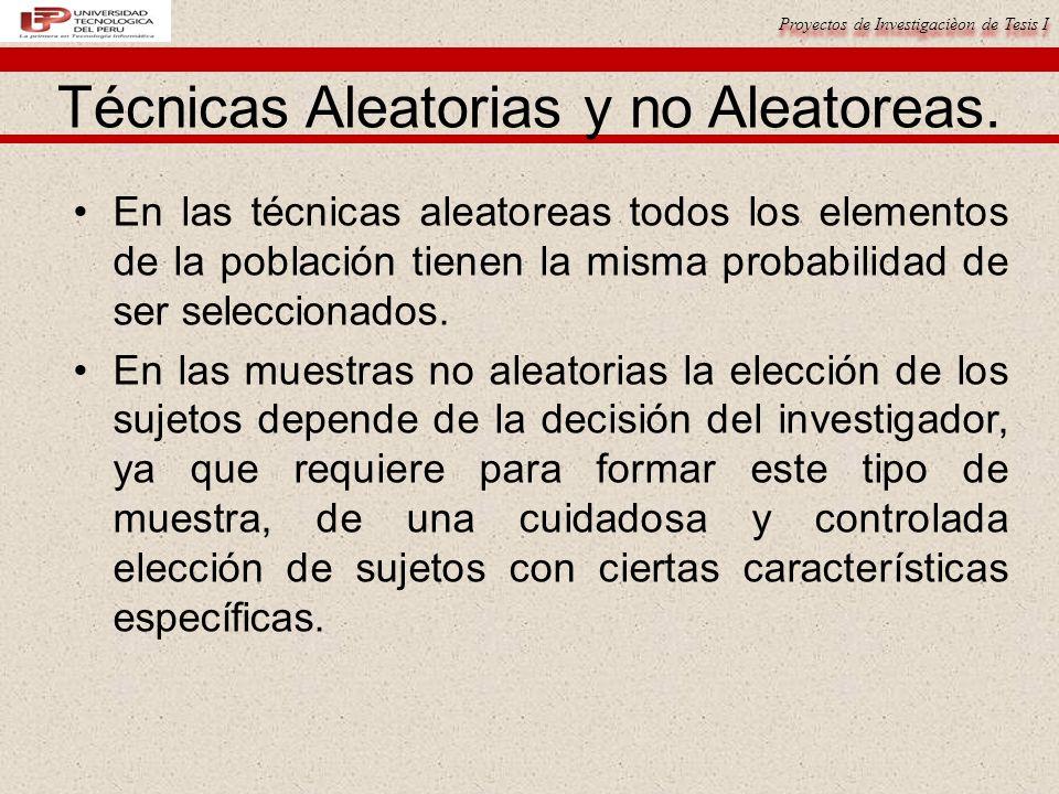 Proyectos de Investigacièon de Tesis I Técnicas Aleatorias y no Aleatoreas.