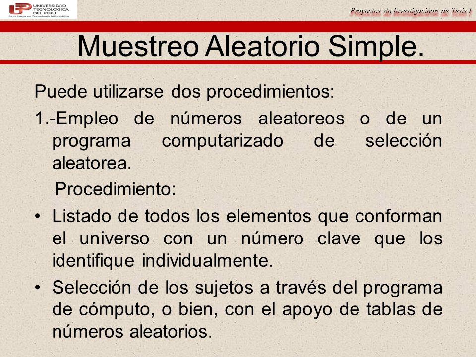 Proyectos de Investigacièon de Tesis I Muestreo Aleatorio Simple.