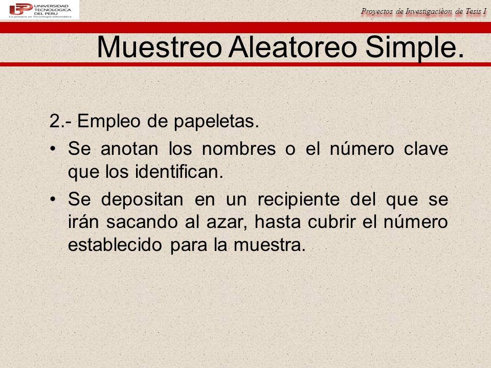 Proyectos de Investigacièon de Tesis I Muestreo Aleatoreo Simple.