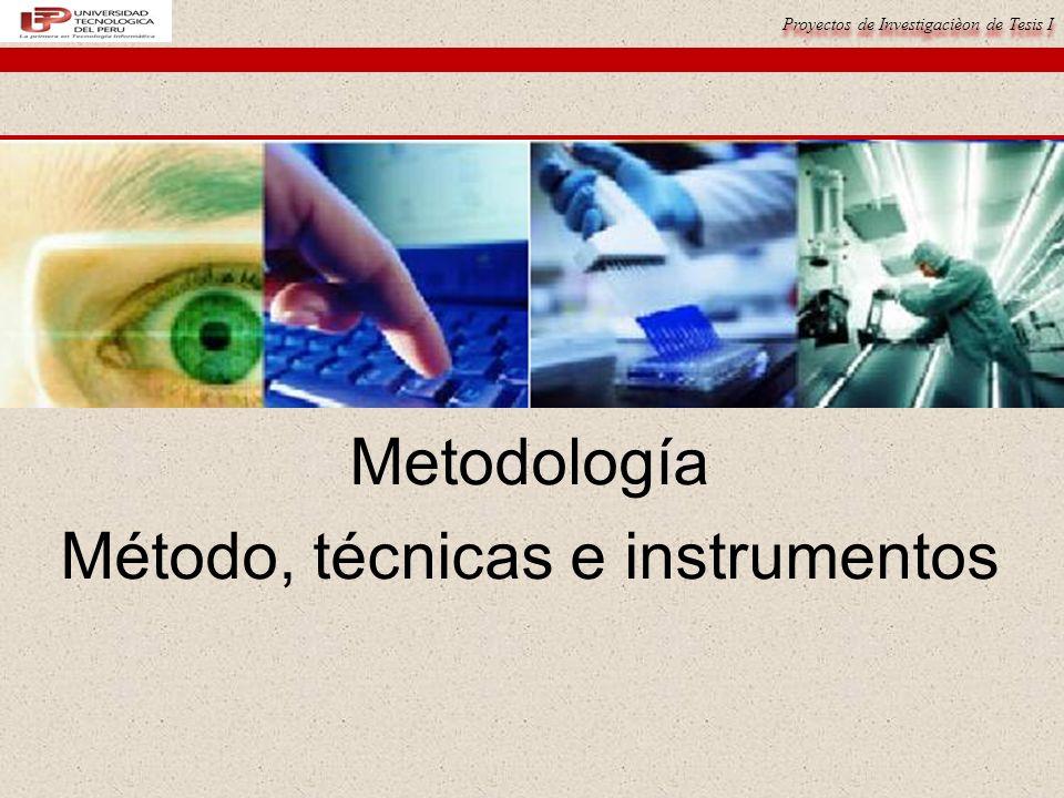 Proyectos de Investigacièon de Tesis I Metodología Método, técnicas e instrumentos