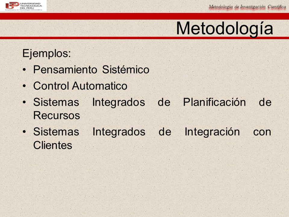 Metodología de Investigación Científica Metodología Ejemplos: Pensamiento Sistémico Control Automatico Sistemas Integrados de Planificación de Recurso