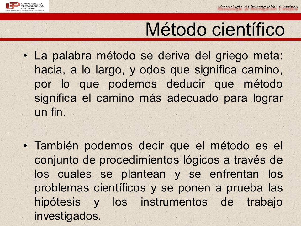 Metodología de Investigación Científica Método científico La palabra método se deriva del griego meta: hacia, a lo largo, y odos que significa camino,