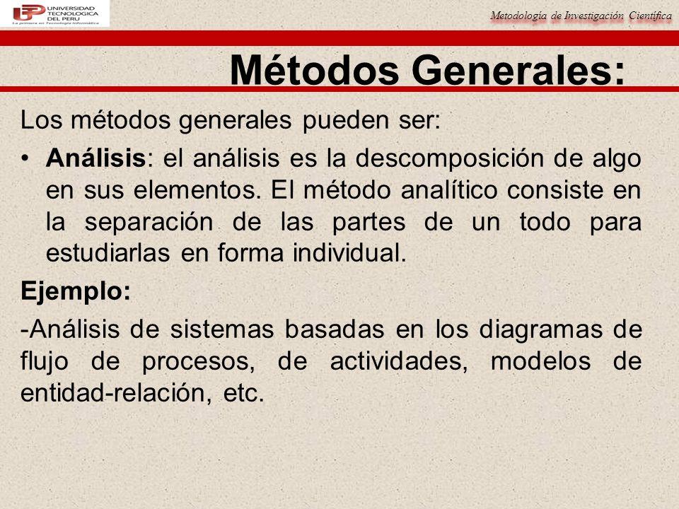 Metodología de Investigación Científica Métodos Generales: Los métodos generales pueden ser: Análisis: el análisis es la descomposición de algo en sus