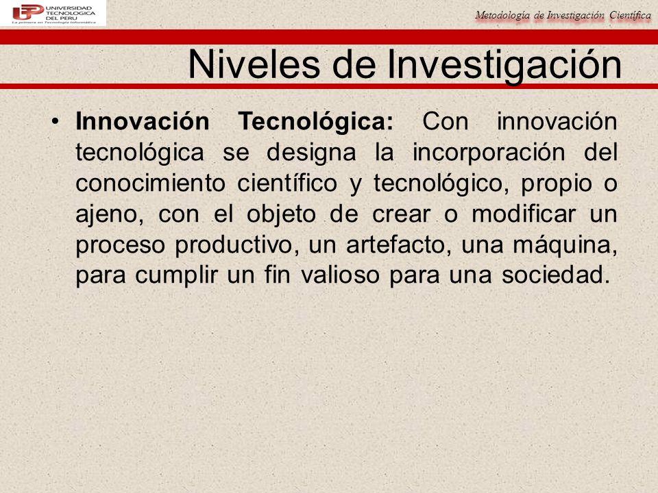 Metodología de Investigación Científica Niveles de Investigación Innovación Tecnológica: Con innovación tecnológica se designa la incorporación del co