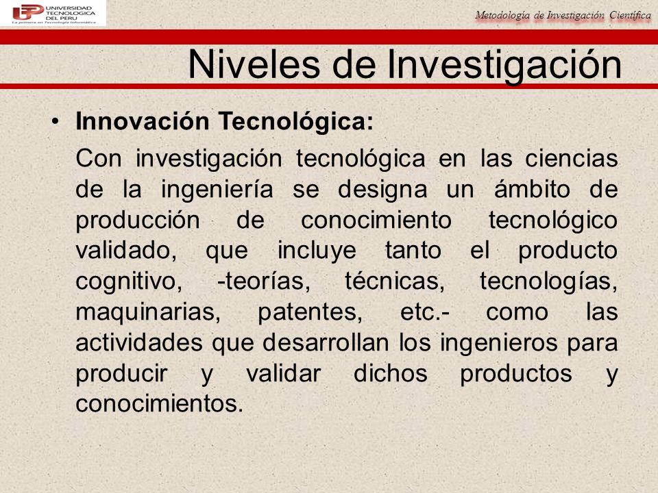 Metodología de Investigación Científica Niveles de Investigación Innovación Tecnológica: Con investigación tecnológica en las ciencias de la ingenierí