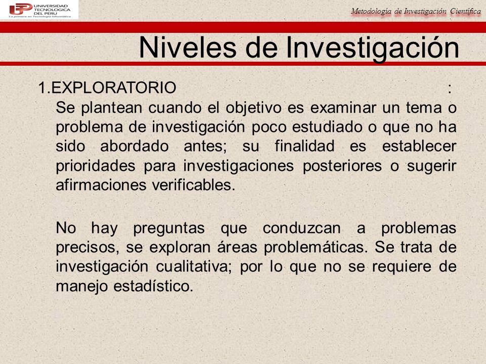 Metodología de Investigación Científica Niveles de Investigación 1.EXPLORATORIO : Se plantean cuando el objetivo es examinar un tema o problema de inv