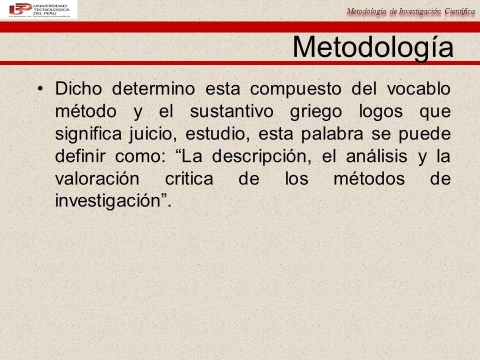 Metodología de Investigación Científica Metodología Dicho determino esta compuesto del vocablo método y el sustantivo griego logos que significa juici